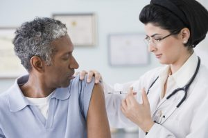 patient receiving flu shot