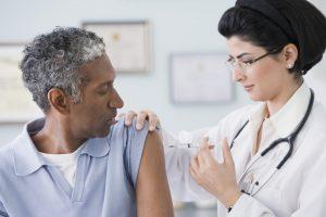 patient receiving flu shot